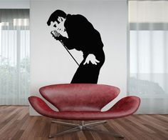 Elvis with Microphone Wall Decal 30x23 by VinylTherapy on Etsy, $29.99