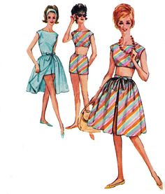 Skirt blouse Shorts & Midriff Top 1960s Vintage Sewing Pattern Simplicity 4482 Size 10  Bust 31