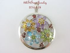 Beautiful Sterling Silver 925 Gemstone FLOWER Floral Round Pendant Enhancer #SA #EnhancerPendant