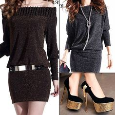 New Arrival Party Off Shoulder Long #Sleeve Blended Knitted-#Dress  with #Shoes  Find more : http://www.imaddictedtoyou.com/