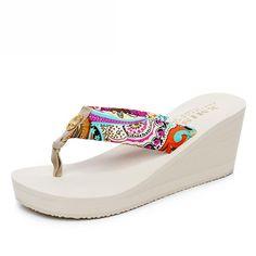 a5b533104141b Bohemia Clip Toes Stylish Ladies Slippers Red Summer Platform Sandals.  Fashionshoeshouse