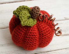 Crochet Puff Flower medium crochet pumpkin - Crochet a medium size crochet pumpkin to brighten up your home or office for fall. A cheery dark orange crochet pumpkin with 2 green leaves and a cute stem. Crochet Puff Flower, Crochet Flower Patterns, Love Crochet, Crochet Flowers, Crochet Fruit, Thanksgiving Crochet, Holiday Crochet, Halloween Crochet, Crochet Fall Decor