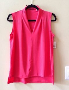 NWT TAHARI WOMEN'S SOLID RED POLY/SPANDEX V NECK SLEEVELESS BLOUSE SIZE S-$78 #Tahari #Blouse