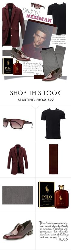 """""""Simon Nessman"""" by lubinesse ❤ liked on Polyvore featuring French Connection, Simplex Apparel, Improvements, Ralph Lauren, Salvatore Ferragamo, Lords of Harlech, men's fashion and menswear"""