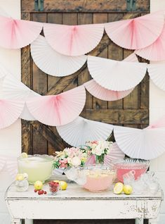 Mallory Joyce hung folded party decorations behind this drink station, creating a scalloped backdrop. The look would work well for your cake table, too. Post Wedding, Diy Wedding, Wedding Day, Wedding Paper, Wedding Decor, Wedding Cake Alternatives, Pink Punch, Chapel Wedding, Southern Weddings