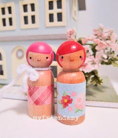 Items similar to Merry and Bright Wooden Dolls on Etsy Wood Peg Dolls, Clothespin Dolls, Doll Crafts, Paper Crafts, Pretty Pegs, Christmas Wooden Signs, Handmade Birthday Gifts, Wooden Pegs, Wooden Decor