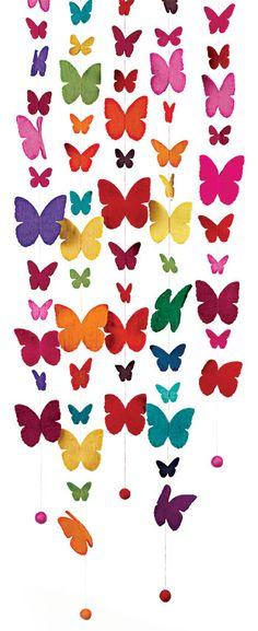 strings of felt butterflies (hang in Emilia's room?)