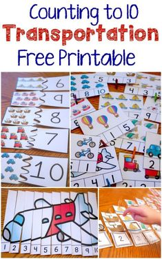 These four great free printable activities make a fantastic addition to a transportation theme and provide excellent opportunities to work on counting to Thinking about this for around the world in 10 days Transportation Theme Preschool, Preschool Themes, Preschool Learning, Kindergarten Math, Classroom Activities, Preschool Crafts, Toddler Activities, Teaching, Counting Activities
