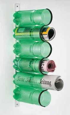 newspaper holder upcycle from bottles