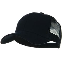 Solid Comfy Cotton Jersey Knit Mesh Back Cap - Navy