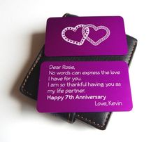 7th Wedding Anniversary Gift to my WifeWallet InsertGift