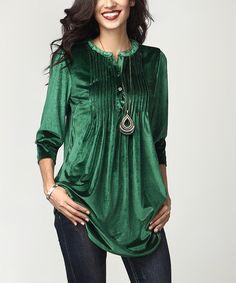 Look what I found on #zulily! Emerald Velvet Notch Neck Pin-Tuck Tunic #zulilyfinds