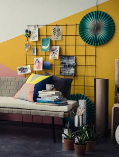 You could get this look with an outdoor trellis for pinning your favourite pictures to. The sofa is the new neutral SINNERLIG day bed designed by Ilse Crawford, re-imagined in a colourful setting.