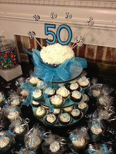 50th Birthday Cupcake Display