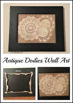 Framed Antique Doily Artwork http://www.myturnforus.com/2016/09/framed-antique-doily-artwork.html