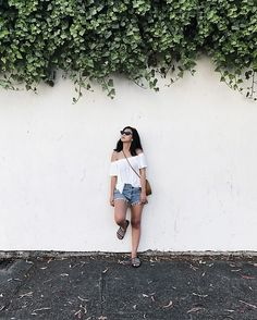 Get this look: http://lb.nu/look/8762625  More looks by Tiffany Wang: http://lb.nu/tiffwang  Items in this look:  Adidas Sandals, Reformation Denim Shorts, Aritzia Shirt, Le Specs Sunglasses   #summer #adidas #athleisure #sporty #offtheshoulder #lespecs #adamselman