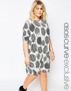 Super cool ASOS CURVE T-Shirt Dress in Sketchy Spot Print - Print ASOS Curve Kjoler til Damer i behagelige materialer