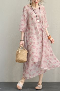 Fashion Printed Floral Linen Dress Women Long Clothes Q1016