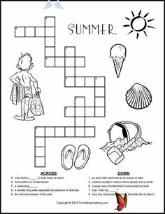 Summer Crossword Puzzles For Kids Sneak in some vocabulary or spelling learning this summer with this free printable summer crossword puzzle for kids.  Words are at a grade 2 spelling level. #summerlearning #summervocabulary #crosswordpuzzles #crossword #elementary #freeprintable #summeractivities #crosswordpuzzlesforkids #grade2 #treevalleyacademy<br> Free printable summer crossword puzzles for kids at a grade 2, 3, and 4 spelling level. A great way to practice summer themed vocabulary and… Crossword Puzzles, Puzzles For Kids, Summer Activities, Vocabulary, Free Printables, Brain Teasers For Kids, Crossword, Free Printable, Summer Fun