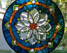 Round Stained Glass Window Panel with Flower Bevel