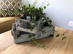 Items similar to Reclaimed solid distressed painted wood, herb, garden, storage, box with metal handles on Etsy
