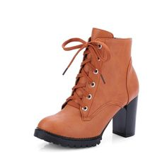 AmoonyFashion Women's Closed Round Toe Solid Low Top High Heels Boots *** Want additional info? Click on the image.