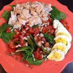 #Lunch! Really wanted a salad today. Chopped up some AppleGate turkey breast lunch meat and made my own dressing: apple cider vinegar, coconut aminos, a little garlic infused macadamia nut oil, and a squeeze of fresh grapefruit juice. #Delicious! https://www.facebook.com/TeamJERF