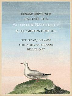 """Gull on Hill"" Invitation, by John Derian, Paperless Post. http://paperless.ly/J7RAud"