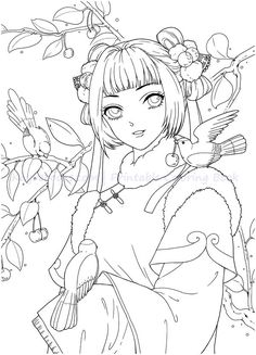 Instant Download! High quality images fit on A4 paper Over 200 printable coloring books available #coloringbook #coloring #portrait #mystica #chinesecoloring #download #ebook #coloringpage Adult Coloring Pages, People Coloring Pages, Cute Coloring Pages, Printable Coloring Pages, Coloring Books, Gothic Anime Girl, Disney Drawings Sketches, Black And White Drawing, Colorful Pictures
