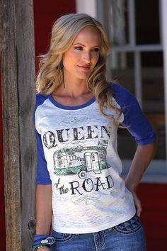 CRUEL GIRL QUEEN OF THE ROAD  SHIRT BASEBALL NWT Cowgirl Gypsy Ladies Medium #CRUELGIRL #TEE