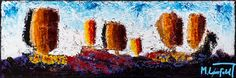 Seascape I, 40x120 cm - Art by Lønfeldt - original abstract painting, modern textured art, colorful
