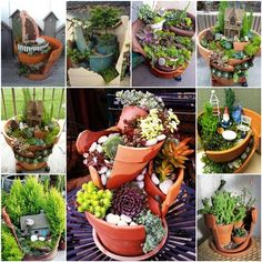 How to DIY Broken Pots Miniature Fairy Garden | www.FabArtDIY.com LIKE Us on Facebook ==> https://www.facebook.com/FabArtDIY