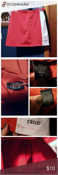 IZOD exercise skorts In brand new condition. One mark right under the IZOD name which i showed in the third set of photos but may come out in regular washing.  It's hard to describe the color and the pictures don't really show it well enough but it's like a burnt orange color with a tint of red. Very nice skorts. Izod Shorts Skorts