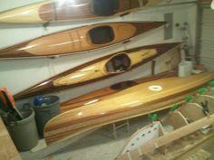 Cedar strip kayak by Heirloom Kayak, hand made wood strip kayaks and canoes.