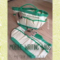 """Bargain writing bags from """"Home Bargains"""""""