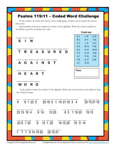 Psalm 119:11 Coded Word Activity
