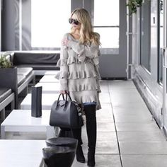 Staying warm in this grey ruffle sweater dress today and my new black over the knee boots. I linked the sunnies  for those asking in previous post