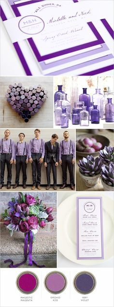 Purple wedding inspiration! Find the invitation here: http://www.shineweddinginvitations.com/wedding-invitations/modern-circle-logo-wedding-invitations