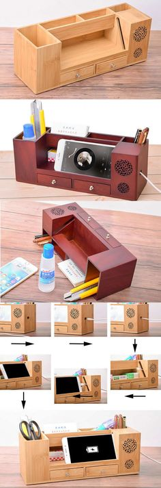 KINGFOM Wooden Struction Leather Multi-function Desk Stationery Organizer Storage Box Pen/Pencil,Cell phone, Business Name Cards Remote Control Holder with Small Drawer Orange on sale,buy your favorite Christmas gifts,Cool stuffs and other holiday Wonderf