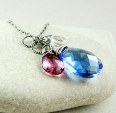 Colorful Quartz   Necklace       Gemstone Jewelry      by Hildes, $37.00