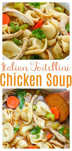 Nothing screams cozy like a giant bowl of Italian Chicken Tortellini Soup. Simple and comforting - this soup hits the spot every-single-time. Feeds a crowd! #chickensoup #chickentortellinisoup #soup #chicken #souprecipes