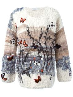 Designer Knitwear & Sweaters For Women - Shop Valentino butterfly intarsia sweater in from the world's best independent boutiques at farf - Knitwear Fashion, Knit Fashion, Pull Crochet, Knit Crochet, Crochet Cardigan, Ladies Boutique, Pulls, Baby Knitting, Sweaters For Women