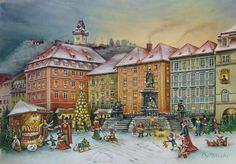 "From Brück and Sohn (Printers in Meissen, Germany since 1793) a charming Advent Calendar of Graz, Austria at Christmas. This delightful advent calendar is 10"" x 15"". Click on the small image to the le"