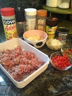 A rich and savory ground beef dish that can be eaten alone or used as a filling in many Spanish dishes. The ingredients:. Puerto Rican Recipes, Chef Recipes, Mexican Food Recipes, Meat Recipes, Recipies, Spanish Dishes, Spanish Food, Spanish Recipes, Goya Recipe