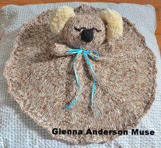 Free knitting pattern for Koala Lovey Security Blanket and blanket buddy knitting patterns