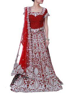 Red Heavy Embellished a Line Lehenga Choli