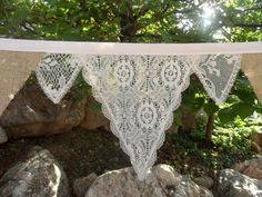 Beach Barn Wedding Outdoors Banner BURLAP & Lace (CLEO) IVORY Bunting 15 Feet
