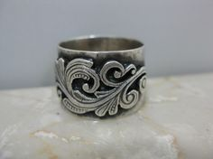 Ring - Wide Silver Hammered Band with Silver Filigree Design $72