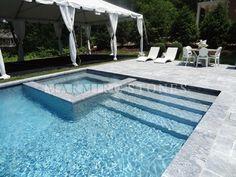 Holiday House Hamptons - new york - by Marmiro Stones, Inc Small Backyard Pools, Backyard Pool Designs, Swimming Pools Backyard, Swimming Pool Designs, Garden Pool, Modern Pool And Spa, Modern Pool House, Modern Pools, Pool Paving