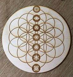 Flower of Life Chakras Crystal Grid - or 12 Inches - Wooden Crystal Grid - Sacred Geometry - Wood Crystal Grid - Flower of Life Chakra Tattoo, Sacred Geometry Patterns, Sacred Geometry Art, Dotwork Tattoo Mandala, Flower Of Life Tattoo, Flower Of Life Pattern, Tattoos Geometric, Tribal Tattoos, Seed Of Life